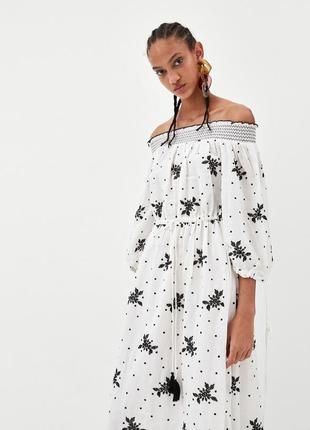 Платье zara с открытыми плечами