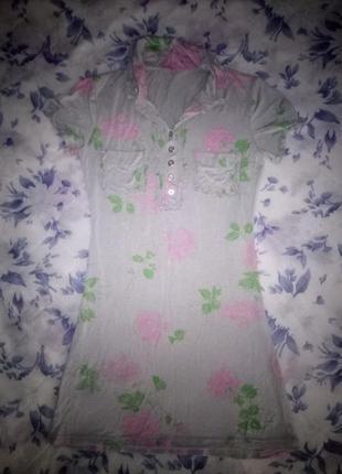 Короткое платье-рубашка в цветочный принт/италия
