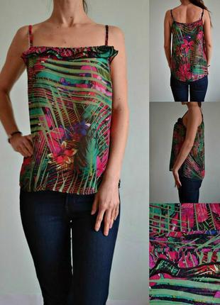 Шифоновая базовая летняя блуза на тонких бретелях 12