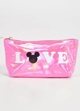 Новая розовая косметичка кошелек пенал sinsay love mickey mouse синсей любовь микки маус