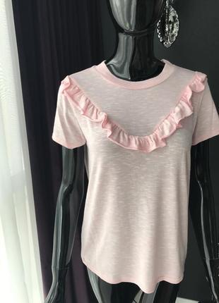 Футболка розовая/ футболка с рюшами