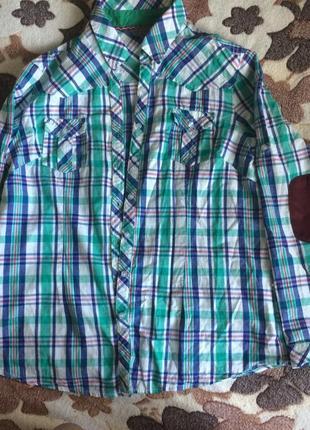 Стильная рубашка в клетку с замшевыми налокотниками