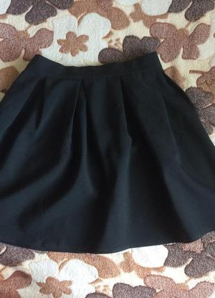 Идеальная черная юбка солнце-клёш волан школьная