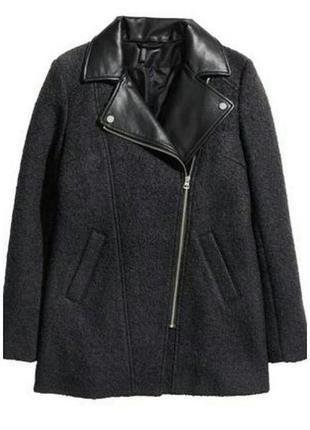 Пальто с кожаными вставками divided