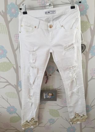 Белые рваные джинсы amn madness a.m.n. amnesia размер 27