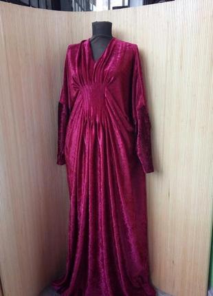 Длинное красное платье макси летучая мышь фактурный велюр l/xl2 фото