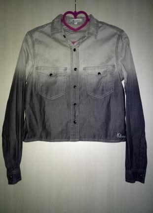 Укороченая рубашка с градиентом 34