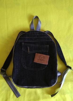 Маленький джинсовый рюкзак с люрексом