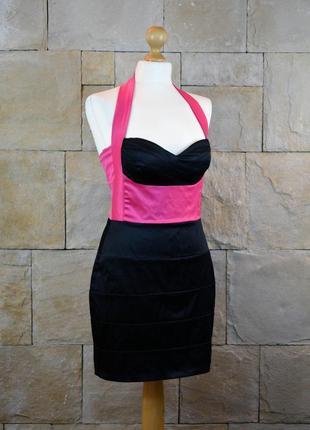 Акция 1+1=3! -эффектное атласное нарядное платье от asos -размер uk 10