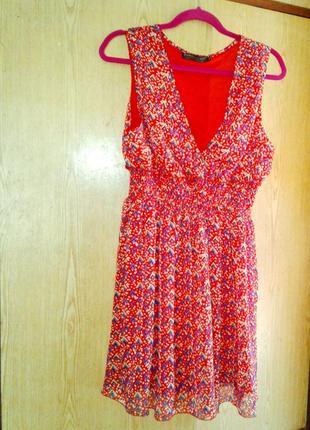 Крепдешиновое красное платье,хl