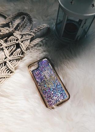 Чехол на iphone 7, с блестками / розовые/ блестки