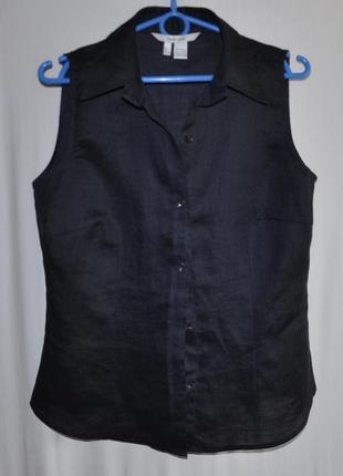 Черная льняная блуза без рукавов