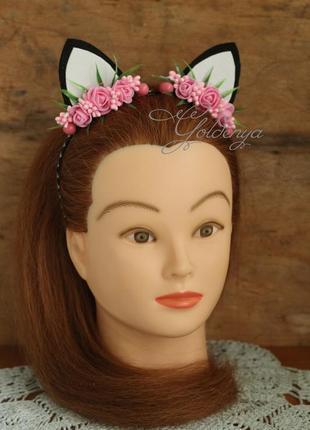 Кошачьи ушки на голову с розовыми цветочками3 фото