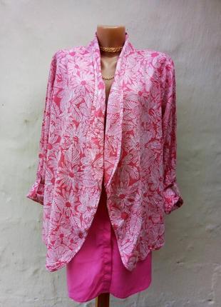 Льняной легкий розовый жакет на запах в цветы,принт,кардиган,пиджак,кимано.