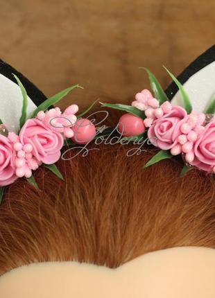 Кошачьи ушки на голову с розовыми цветочками