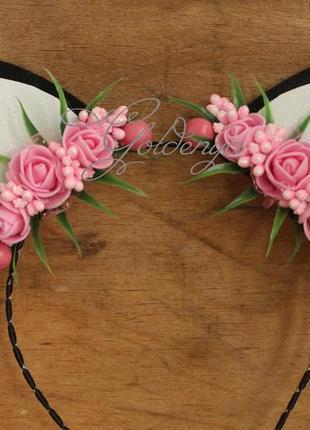 Кошачьи ушки на голову с розовыми цветочками2 фото