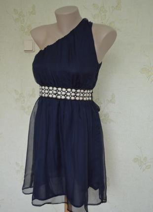 Вечернее коктельное нарядное платье на одно плечо мини