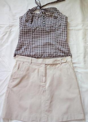 Летняя светлая юбка от бренда french connection + топ в подарок от бренда h&m