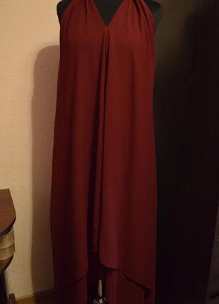 Платье-сарафан каскадом из шифона цвета марсал