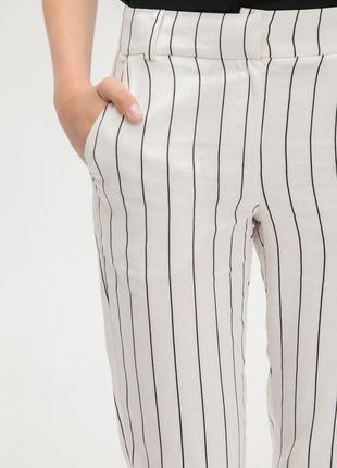 Льняные (лен) , прямые полосатые брюки, merona, 10-12 размер