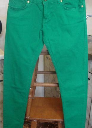 Штаны брюки скинни зеленые denim co 8/36 xs/s 98%котон, 2%эластан