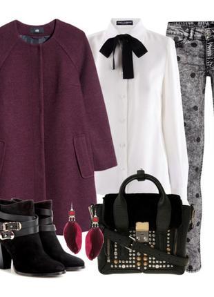 🍒стильное демисезонное шерстяное пальто размер 10 - 12🍒