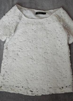 Очень нежная и красивая белая блуза / блузка / футболка