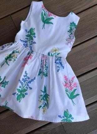 Нарядное пышное платье  с нежным цветочным рисунком от carter's на 3 года из хлопка