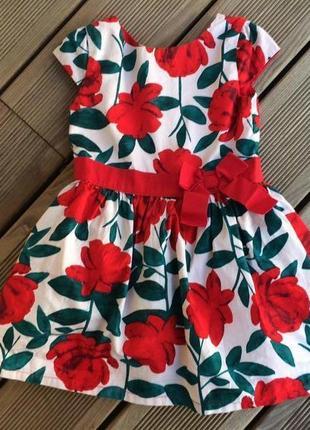 Яркое нарядное пышное платье с цветочным рисунком от carter's из хлопка на 3 года
