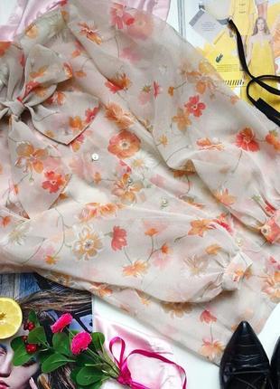 Вінтажна шифонова блуза блузка в квіти шифоновая винтажная блуза с s