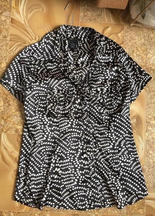 Шелковая рубашка блуза в горошек