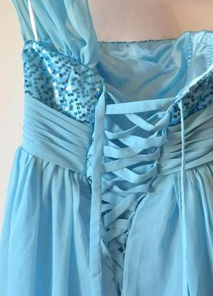 037657cee49 ... Шикарное бирюзовое платье в пол