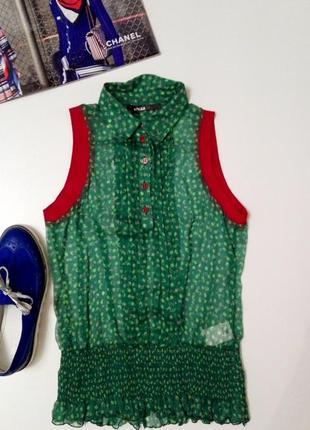 Шелковая блуза на пуговицах с резиночкой pianurastudio