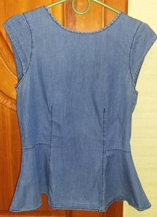 Стильная блузка с баской из облегчённого джинса lindex швеция