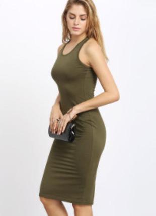 Платье миди с открытой спиной zara