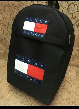 Черный спортивный городской школьный рюкзак томми tommy hilfiger