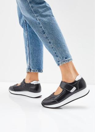52511b6cb Натуральные кожаные кроссовки на липучках zenden. летние туфли, черные  босоножки