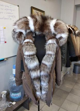 Парка с натуральным мехом чернобурки + вставки arctic fox летняя цена