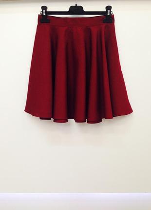 Бордовая юбка солнце клеш с высокой посадкой