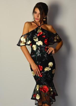 Умопомрачительное коктейльное платье миди в стиле dolce&gabbana вышивка воланы плечи