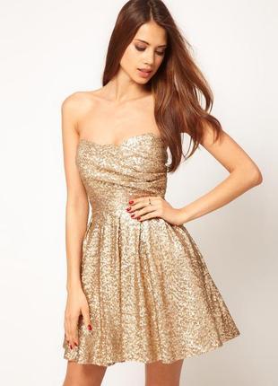 Золотое платье в пайетки от tfnc