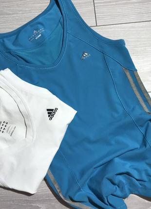 Спортивная голубая майка adidas оригинал