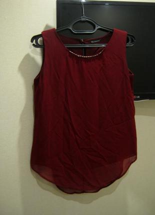 Блуза / блузка / майка с украшением на шеи винного цвета