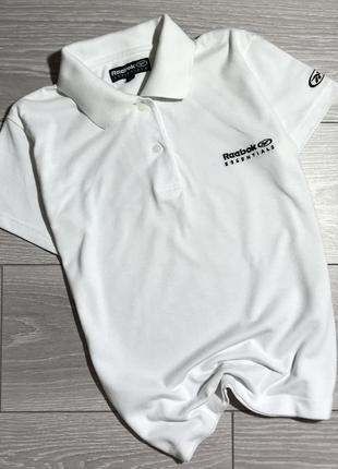 Белая футболка поло спортивная reebok