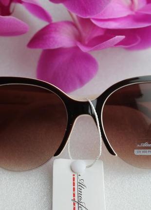 Новые модные солнцезащитные очки лисичики, коричнево-бежевые