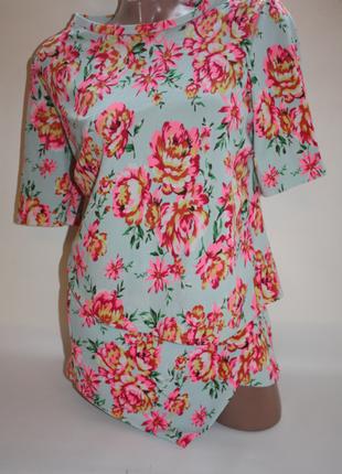 Костюм new look шорты и футболка голубой рисунок принт цветы розы (к025-к029)
