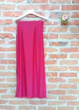 Крутая красная юбка макси, впол с разрезом look