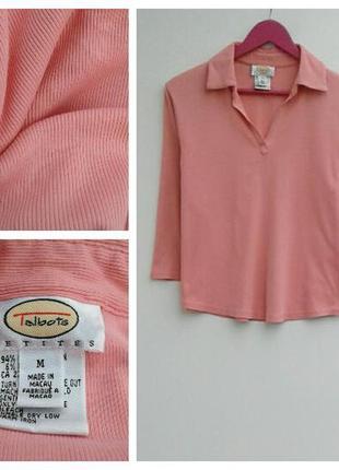 Нежно-розовый джемпер ткань в рубчик джемпер с воротником