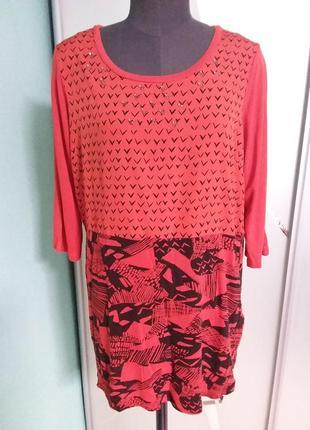 Оранжевая удлиненная туника (блуза)