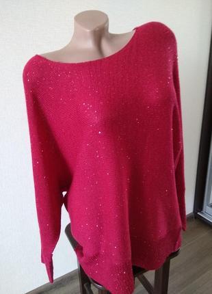 Кофта свитер вязаный пуловер стиль летучая мышь размер л 12 можно как оверсайз